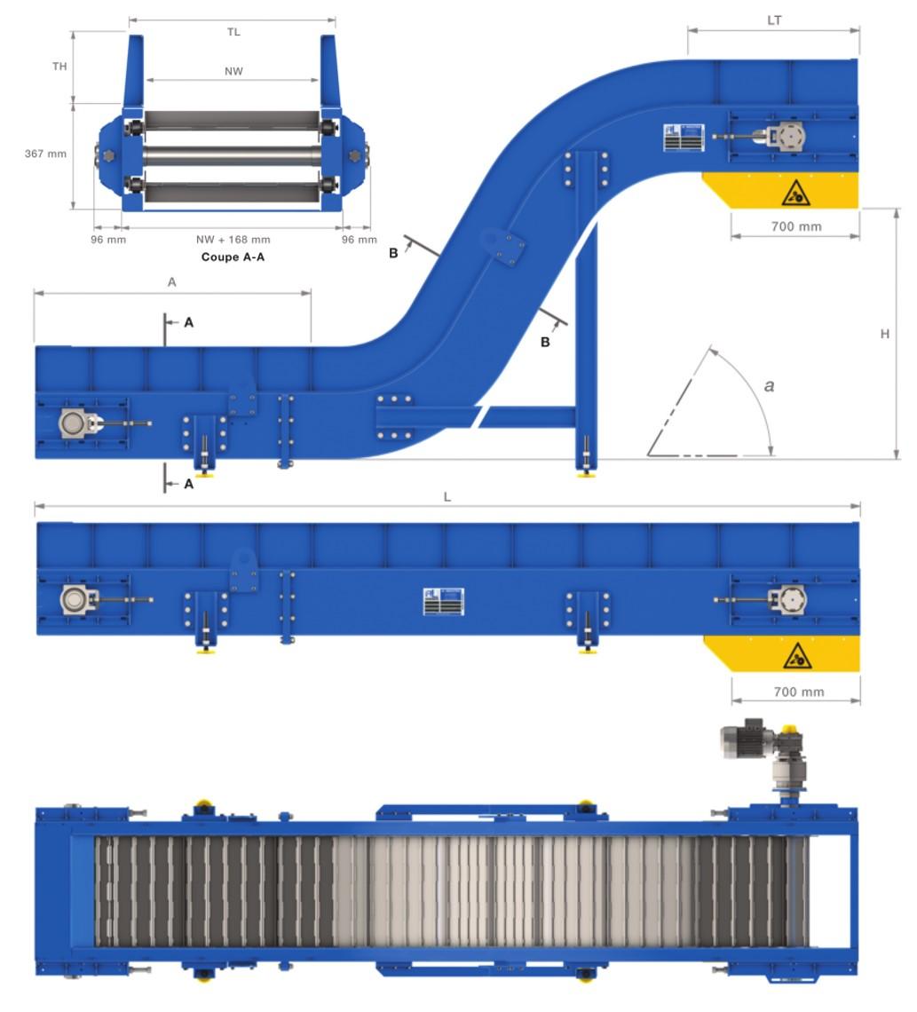 convoyeur a tapis metallique T100