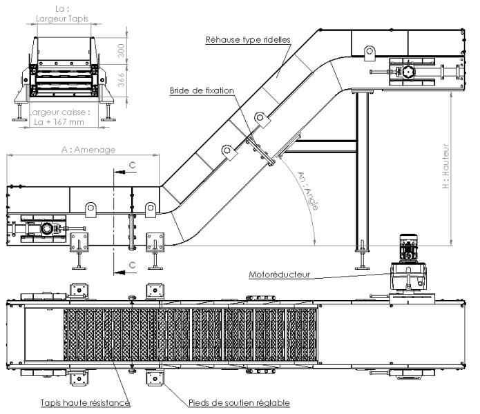 Plan convoyeur a copeaux T100 AL Industrie