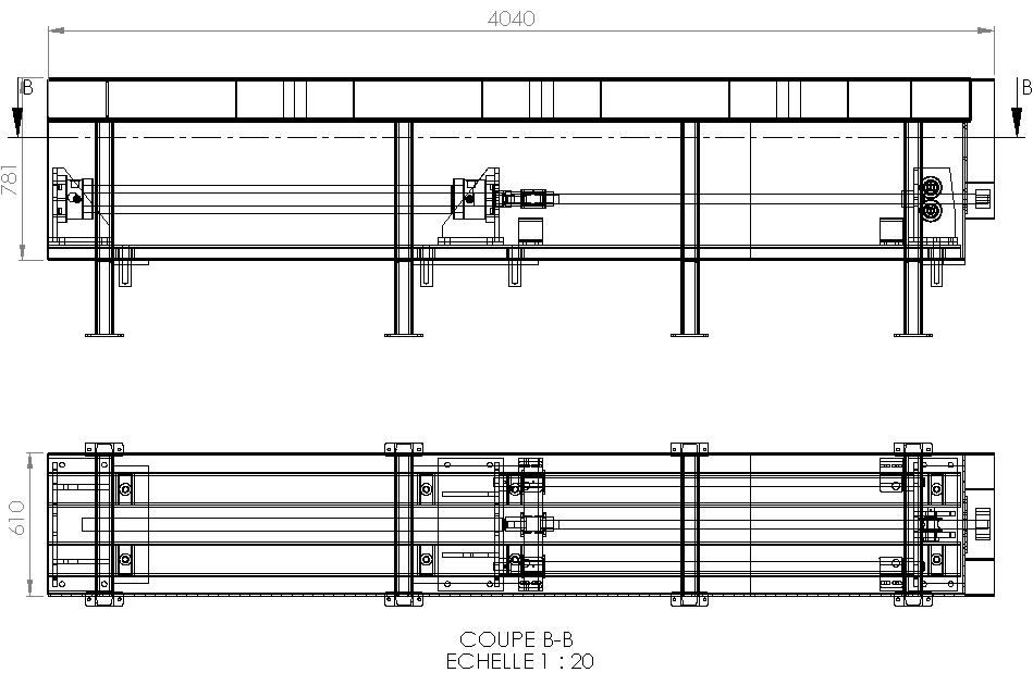 Plan convoyeur harpon module verin