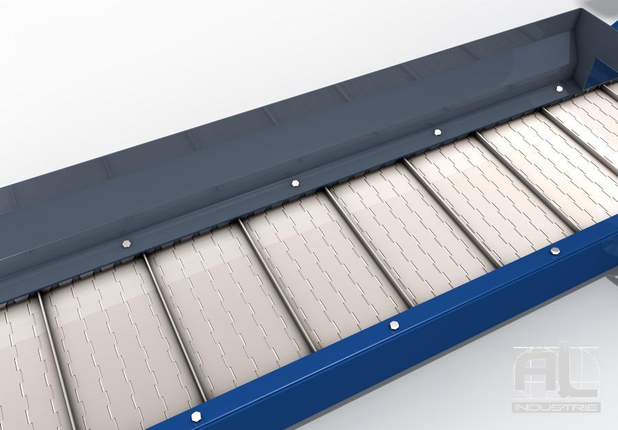Évacuateur à tapis métallique - Convoyeur tapis T38 - Convoyeurs à tapis
