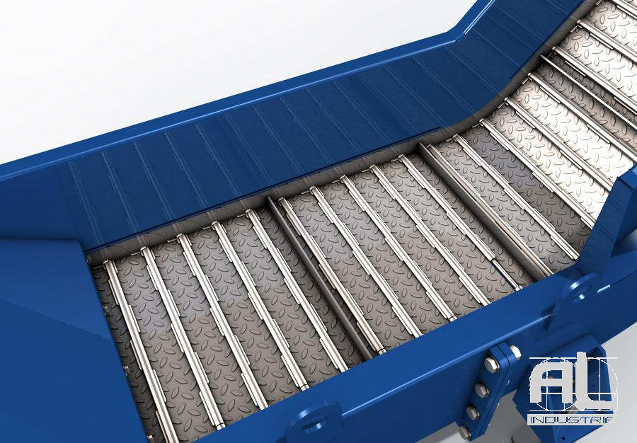 Convoyeur à copeaux T100 zoom - Convoyeur tapis T100 - Convoyeurs à tapis