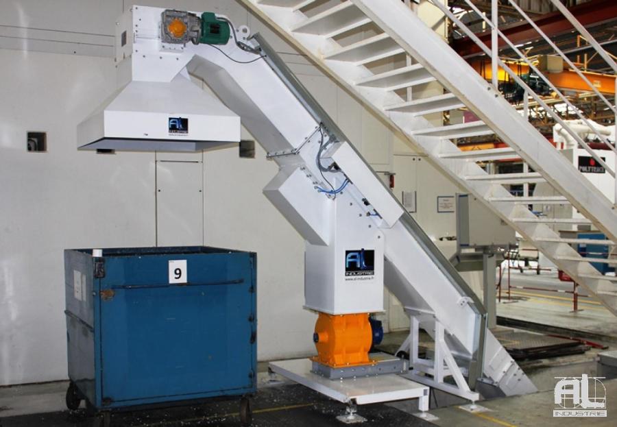 Application convoyeur trieur aluminium - Convoyeur à copeaux trieur matière - Mécanique