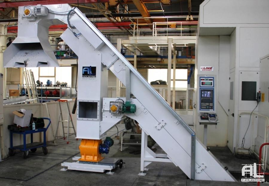 Convoyeur à raclette trieur aluminium - Convoyeur à copeaux trieur matière - Mécanique