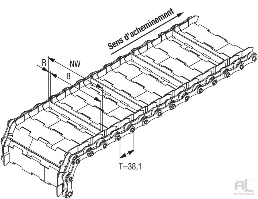 Tapis métallique convoyeurs 38.1 - Tapis métallique convoyeur pas 38.1 mm - Tapis métallique convoyeur