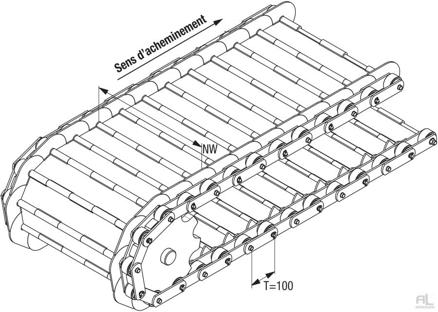 Tapis métallique convoyeurs 100 - Tapis métallique convoyeur pas 100 mm - Tapis métallique convoyeur