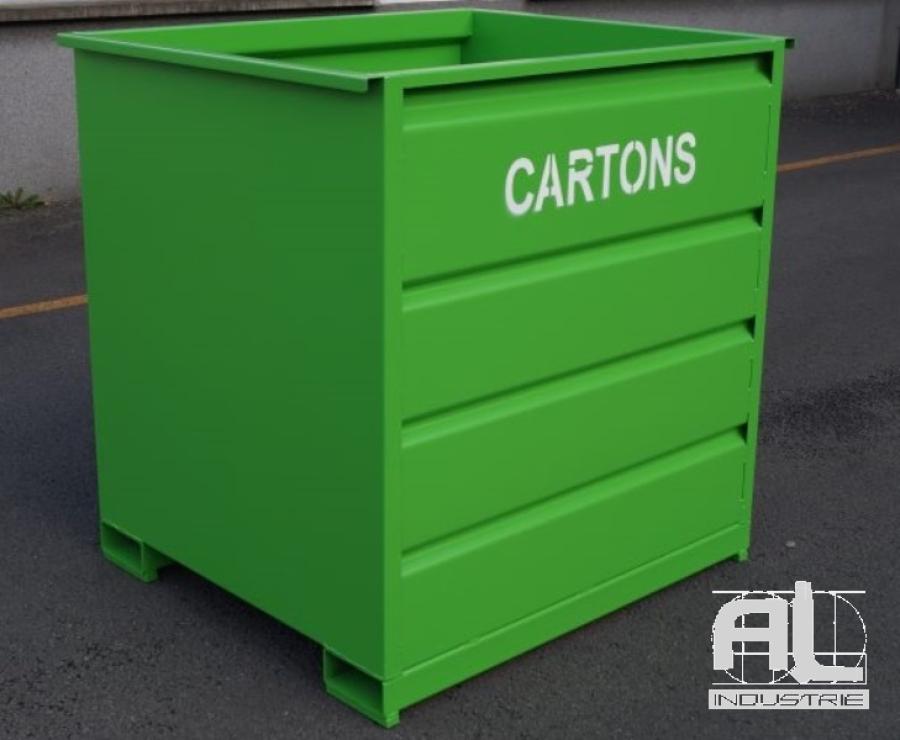 bennes déchets caisse - Benne déchets industriels 1500 Litres - Bennes caisse