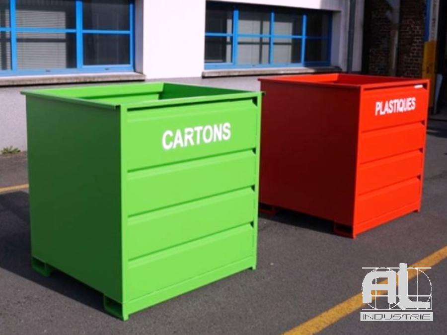 bennes cartons plastiques - Benne déchets industriels 1500 Litres - Bennes caisse