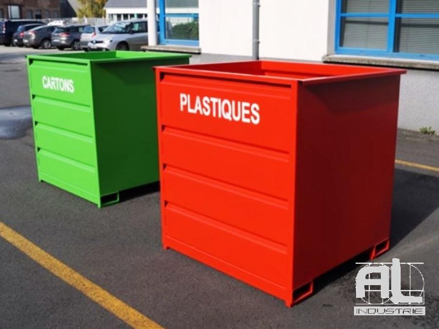 benne plastiques - Benne déchets industriels 1500 Litres - Bennes caisse