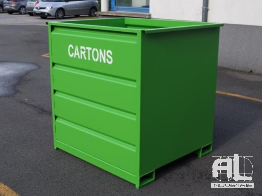 benne cartons - Benne déchets industriels 1500 Litres - Bennes caisse