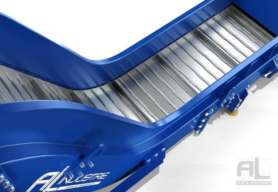tapis acier evacuateur - Convoyeur tapis T100 - Convoyeurs à tapis